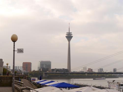 ドイツ、デュッセルドルフのライン川沿いで初めて見た光景。秋よさようなら~。